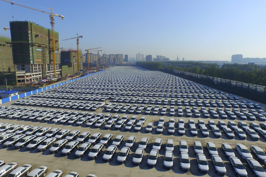 New Volkswagen cars sit in a parking lot in Changchun, Jilin province, China. Photo: sheng li/Reuters