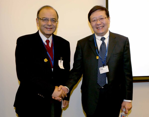 Chinese Finance Minister Lou Jiwei also held a bilateral meeting with his Indian counterpart Arun Jaitley in Washington, US on 15 April 2016 [Image: Indian Finance Ministry]