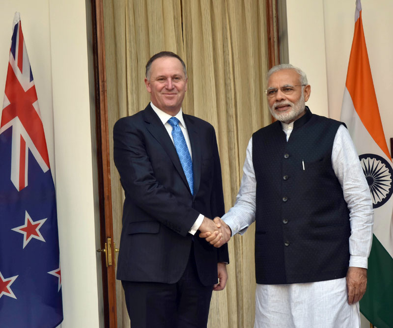 The Prime Minister, Shri Narendra Modi with the Prime Minister of New Zealand, Mr. John Key, at Hyderabad House, in New Delhi on October 26, 2016.